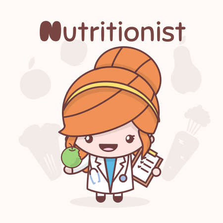 dietology: Cute chibi kawaii characters. Alphabet professions. The Letter N - Nutritionist. Flat cartoon style