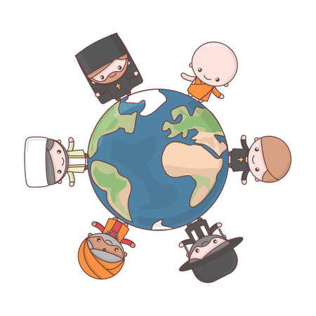 Cute characters. Judaism Rabbi. Buddhism Monk. Hinduism Brahman. Catholicism Priest. Christianity Holy father. Islam Muslim. Friendship and peace for different faiths all over the world. Cartoon