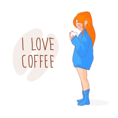 Cartoon red-haired girl in a sweater with a cup of coffee. Lettering I love coffee
