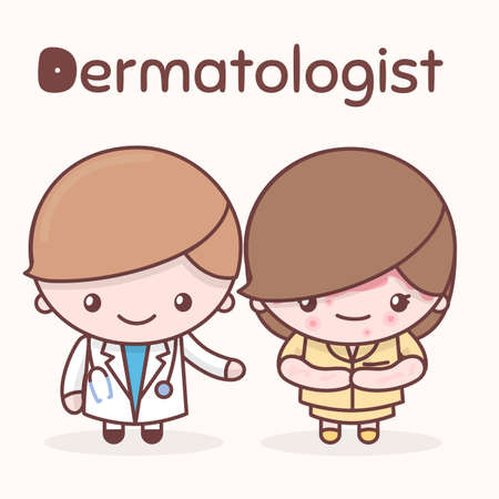Cute chibi kawaii characters. Alphabet professions. The Letter D - Dermatologist. Flat cartoon style