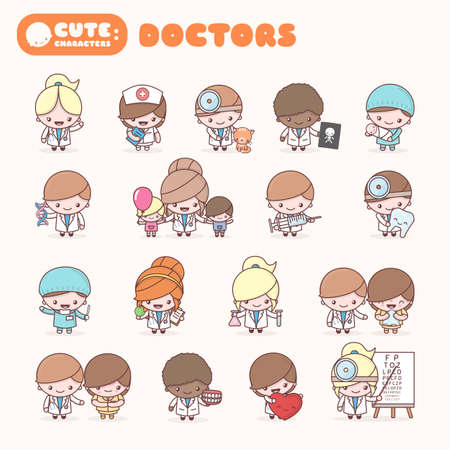Cute chibi characters profession set.