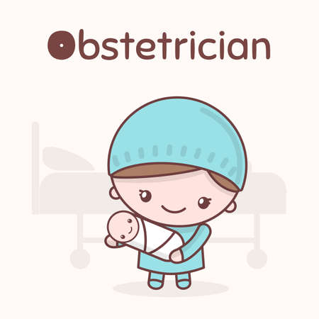 Alphabet professions, the Letter O - Obstetrician. 向量圖像