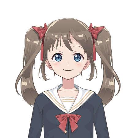 Anime schoolgirl. Cartoon character in Japanese classical style. Manga avatar.
