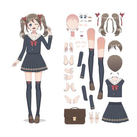 Anime manga schoolmeisje in een rok, kousen en schooltas. Stripfiguur in de Japanse stijl. Set elementen voor personage-animatie