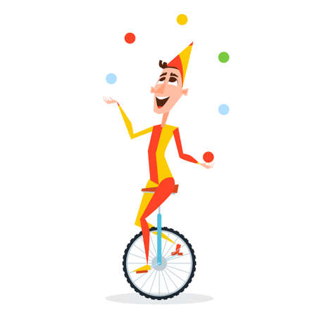 Circus juggler with balls rides on a unicycle Stock Illustratie