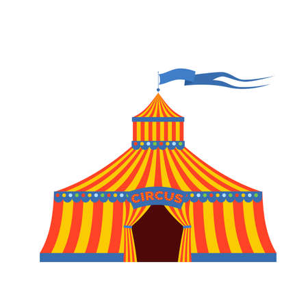 Circus tent with the inscription Circus in retro style. Illustration