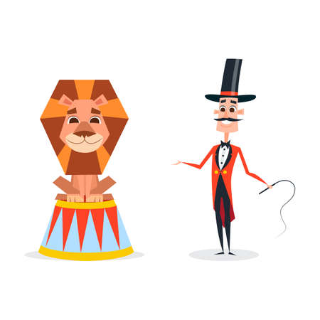 Circus trainer with a whip in a red suit. An animal tamer stands next to a smiling lion. Illustration