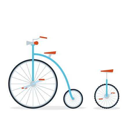 Circus bike and unicycle. Flat style on isolated background