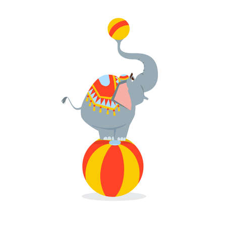 circus elephant stands on a big ball and holds a small ball in the trunk