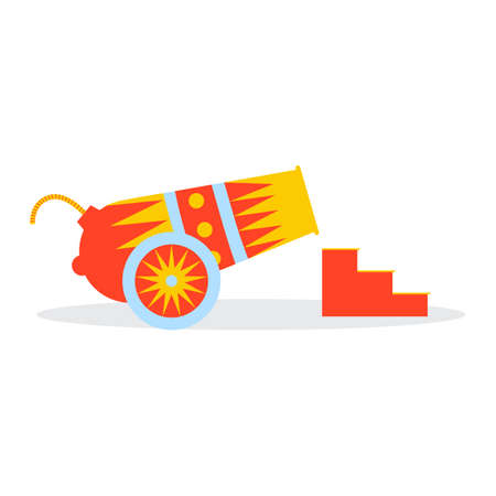 Multicolored circus cannon on the wheels ladder Illustration