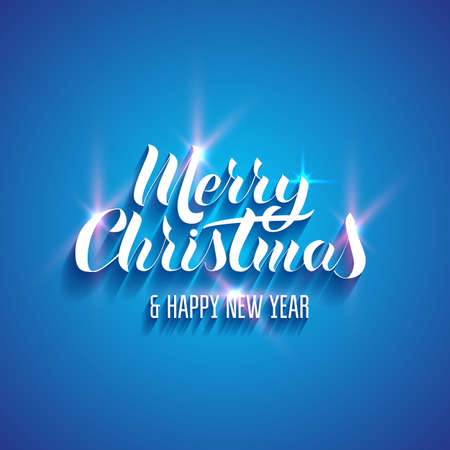 Voluminous, bright lettering in the popular style of Merry Christmas Happy New Year. Effects of glow, shadows. Blue background. Illustration