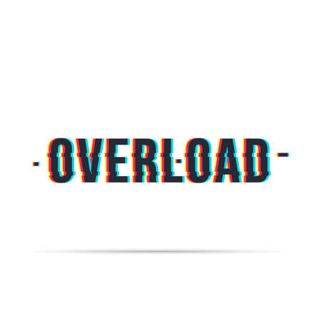 Overload date chromatic aberration lettering style  distorted glitch effect.