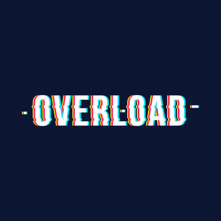 Overload date chromatic aberration lettering style in distorted glitch effect. Vectores
