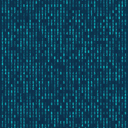 Blue hexadecimal computer code. Abstract matrix background. Hacker attack. Generated computer code concept 矢量图像