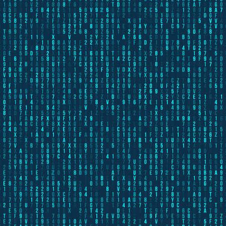 Blue hexadecimal computer code. Abstract matrix background. Hacker attack. Generated computer code concept Ilustração