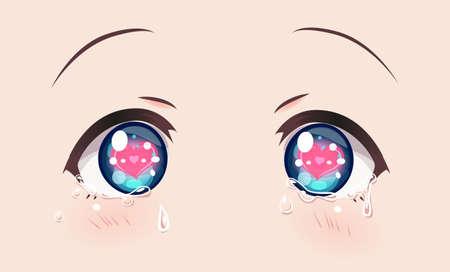 Loving crying eyes, anime (manga) girls. Tears flow down my cheeks