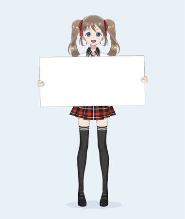 Japanese Asian woman holding white big sign board. Isolated full-length portrait. Cartoon anime manga schoolgirl character. White paper mockup Illustration