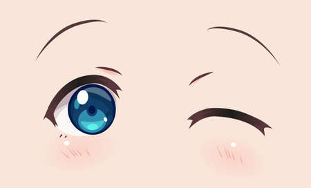 Real smiling anime eyes (manga) girls, in Japanese style. winking 向量圖像