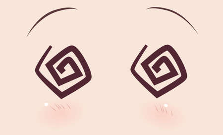 The real eyes of anime (manga) girls, in Japanese style. discouraged, unconscious, the eyes of a spiral