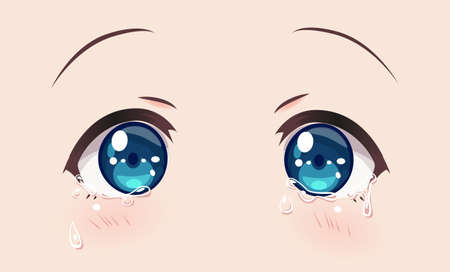 Crying eyes, anime (manga) girls. tears run down my cheeks