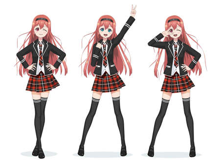 Beautiful anime manga schoolgirl wearing Plaid red skirt and tie pattern of tartans, Black long stockings, school bag in shirt and jacket in full body with different poses. Cartoon character in Japanese style.