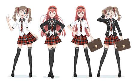 Bellissima studentessa manga anime. Gonna scozzese rossa e cravatta fantasia scozzese. Calze lunghe nere, borsa da scuola in camicia e giacca. Corpo pieno in diverse pose. Personaggio dei cartoni animati in stile giapponese.