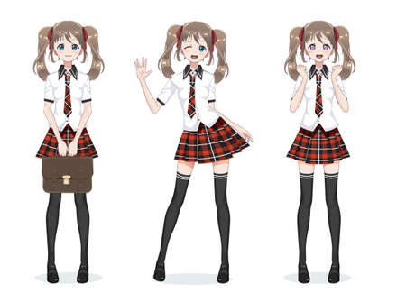 Beautiful anime manga schoolgirl. Plaid red skirt and tie pattern of tartans. Black long stockings, school bag in shirt. Full body in different poses. Cartoon character in Japanese style 矢量图像