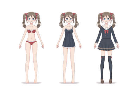 Anime manga girl. In lace underwear, bra, shirt, school suit with bows. Cartoon character in Japanese style. Vettoriali