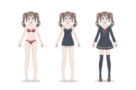 Anime-mangameisje. In kanten ondergoed, beha, shirt, schoolpak met strikjes. Stripfiguur in Japanse stijl.