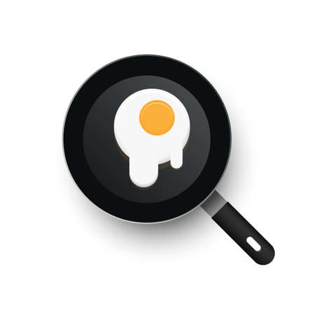 A realistic vector frying pan. Scrambled eggs spread out Illustration