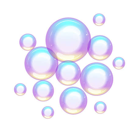 Group of colorful soap bubbles small and large Ilustração