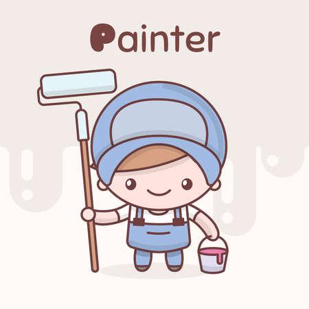 Painter cartoon character  イラスト・ベクター素材
