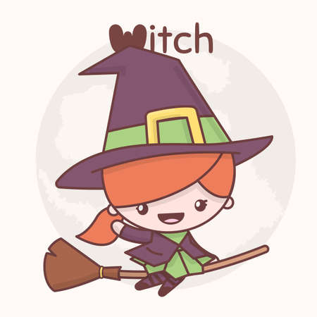 Witch on a broomstick  cartoon character