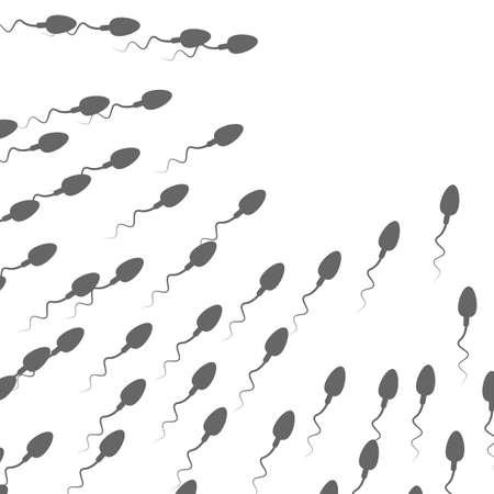 A large group of spermatozoa flows towards the target Illustration