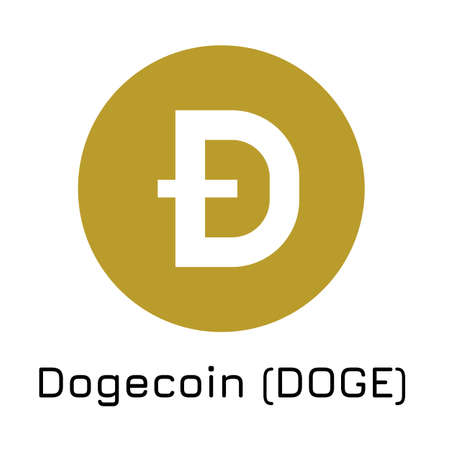 Vector illustration crypto coin icon on isolated white background Dogecoin (DOGE). Name of the crypto currency and the short trade name on the exchange. Digital currency.