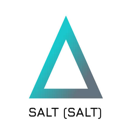 Vector illustration crypto coin icon on isolated white background SALT (SALT). Name of the crypto currency and the short trade name on the exchange. Digital currency.