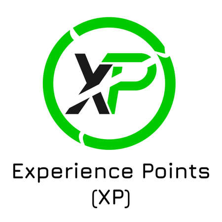 Vector illustration crypto coin icon on isolated white background Experience Points (XP). Name of the crypto currency and the short trade name on the exchange. Digital currency.