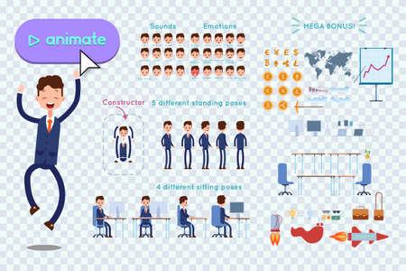 アニメーション用の文字コンストラクター。青いスーツを着たビジネスマンは、透明な背景に喜びのためにジャンプします。スピーチ、感情、ターン、立ち、座っているアニメーション。アニメーション用オブジェクト