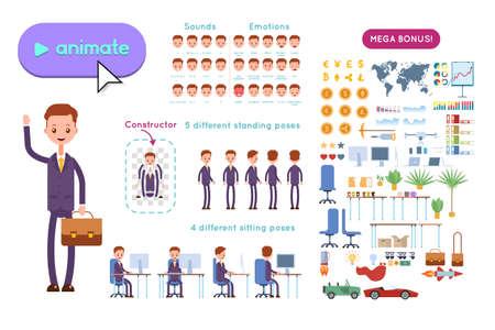 ビジネス広告をアニメーション化するためのビッグセット。紫色のスーツを着た若いビジネスマンがブリーフケースを持ち、手を振る。白い背景に