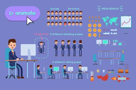 アニメーション用の文字コンストラクター。青いスーツを着たビジネスマンが、紫色の背景にコンピュータで机に座っている。スピーチ、感情、ターン、立ち、座っているアニメーション。アニメーション用オブジェクト