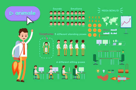 Character constructor for animating. Businessman in blue shirt flies on a rocket pack on green background. Animation of speech, emotions, turns, standing, sitting. Objects for animation Illusztráció