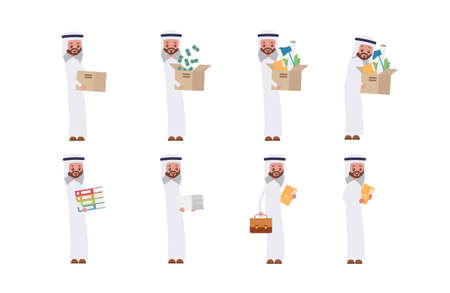 Carries boxes, gets a job, carries money, documents. Arab saudi businessman. cartoon character set