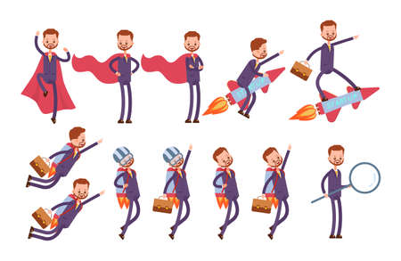 superhero in a red cloak, flies on a rocket, on a jet pack, stands with a huge magnifying glass, searches for information. businessman. cartoon character set Stock Vector - 97870610