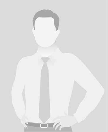 Default placeholder businessman half-length portrait photo avatar. Man gray color  Ilustrace