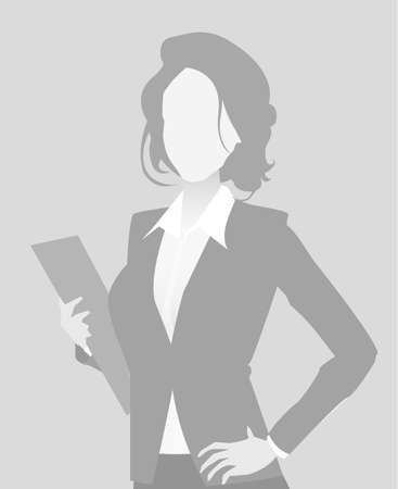 Default placeholder businesswoman half-length portrait photo avatar. Woman gray color Reklamní fotografie - 98627837