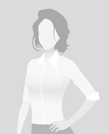 Default placeholder businesswoman half-length portrait photo avatar. Woman gray color Vector illustration.