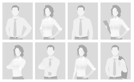 Default placeholder man and woman half-length portrait photo avatar. Businessman and businesswoman gray color Ilustrace