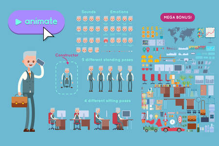 Set for animation elderly businessman character. Animation of sounds, emotions. View straight, side, back, half-turn. Body parts elements for animation. Set for interior and environment.