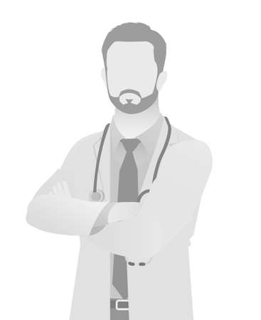 Default placeholder doctor half-length portrait on silhouette gray illustration. 向量圖像