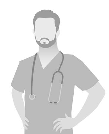 Default placeholder doctor half-length portrait photo avatar. 向量圖像